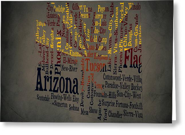 Arizona Typographic Map1a Greeting Card by Brian Reaves