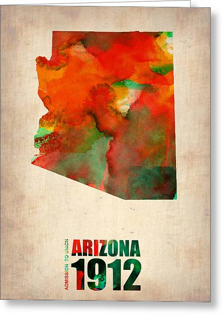 Arizona Posters Greeting Cards - Arizona Watercolor Map Greeting Card by Naxart Studio