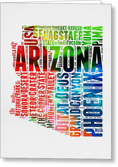 Grand Canyon State Greeting Cards - Arizona Watercolor Word Cloud Map  Greeting Card by Naxart Studio