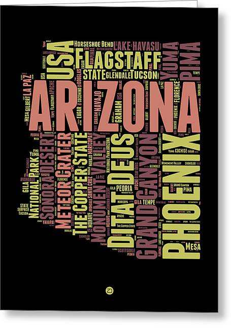 Grand Canyon State Greeting Cards - Arizona Word Cloud Map 1 Greeting Card by Naxart Studio
