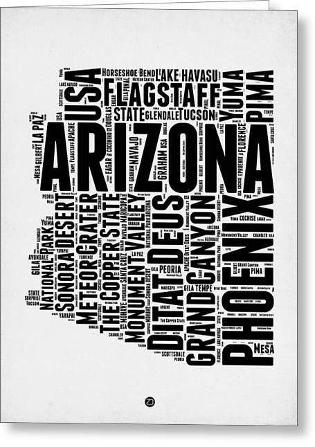 Grand Canyon State Greeting Cards - Arizona Word Cloud Map 2 Greeting Card by Naxart Studio