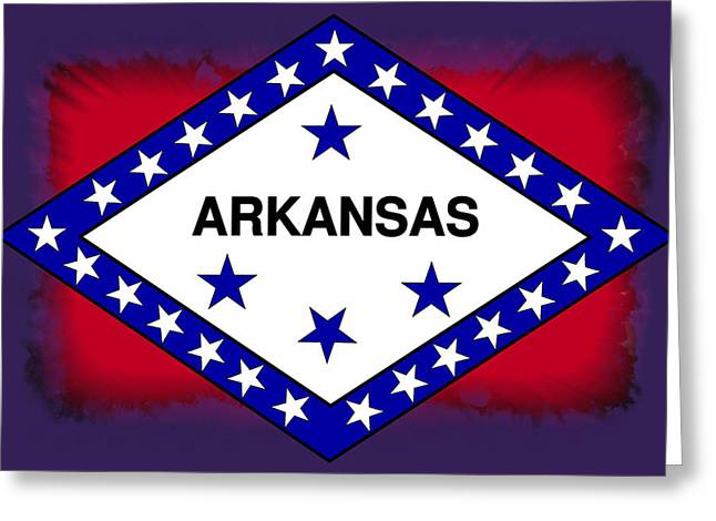Little Rock Arkansas Greeting Cards - Arkansas Flag Abstract Greeting Card by Daniel Hagerman