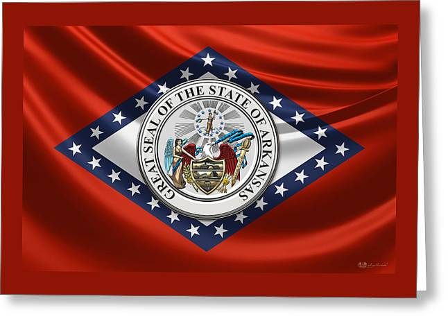 Arkansas Great Seal Over State Flag Greeting Card by Serge Averbukh