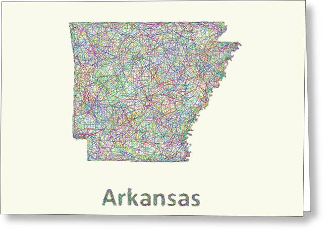 Arkansas Map Greeting Cards - Arkansas line art map Greeting Card by David Zydd