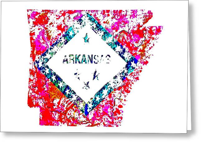 Arkansas Razorbacks Mixed Media Greeting Cards - Arkansas Paint Splatter Greeting Card by Brian Reaves