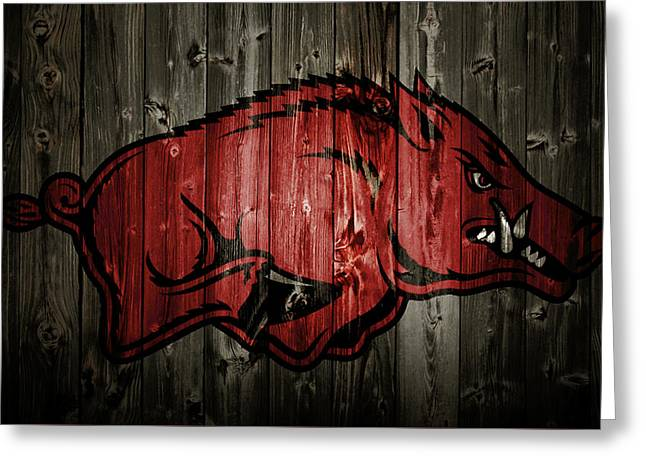 Arkansas Razorbacks 2b Greeting Card by Brian Reaves