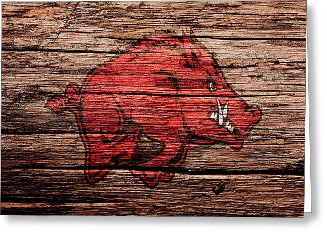 Arkansas Razorbacks Greeting Card by Brian Reaves