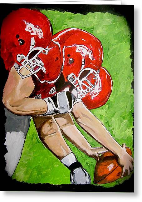 Arkansas Razorbacks Football Greeting Card by Carol Blackhurst