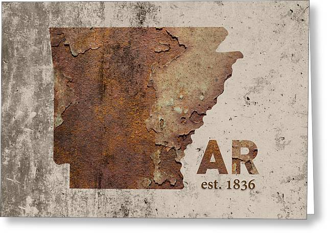 Arkansas State Map Industrial Rusted Metal On Cement Wall With Founding Date Series 034 Greeting Card by Design Turnpike
