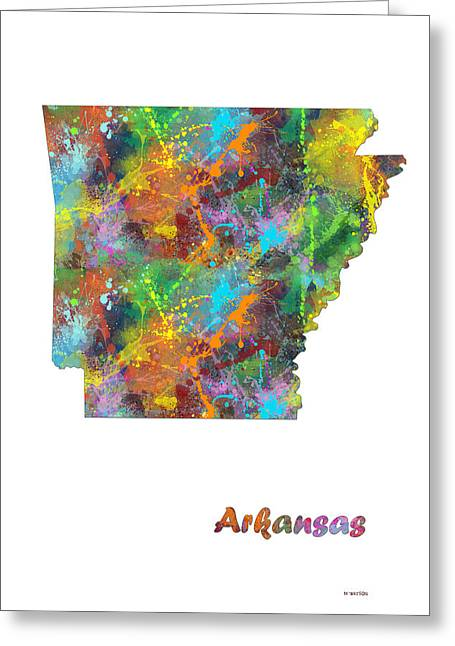 Arkansas State Map Greeting Card by Marlene Watson