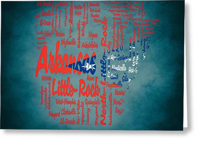 Arkansas Razorbacks Mixed Media Greeting Cards - Arkansas Typographic Map 1b Greeting Card by Brian Reaves