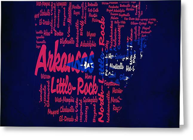Arkansas Typographic Map1a Greeting Card by Brian Reaves