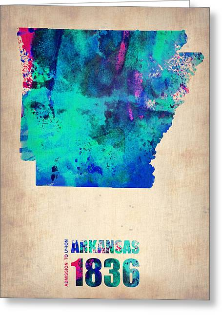 Arkansas State Map Greeting Cards - Arkansas Watercolor Map Greeting Card by Naxart Studio