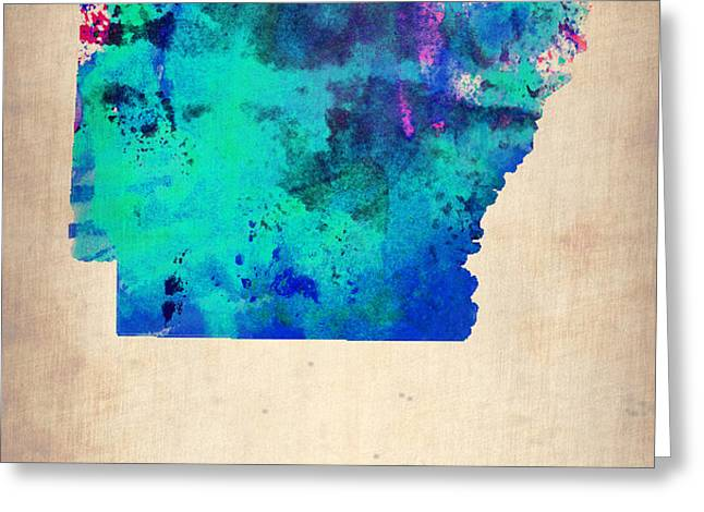 Arkansas Watercolor Map Greeting Card by Naxart Studio