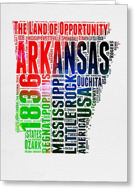 Arkansas State Map Greeting Cards - Arkansas Watercolor Word Cloud  Greeting Card by Naxart Studio
