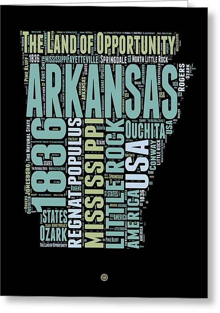 Arkansas State Map Greeting Cards - Arkansas Word Cloud 1 Greeting Card by Naxart Studio