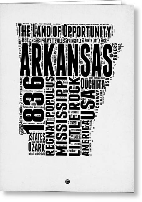 4th July Greeting Cards - Arkansas Word Cloud 2 Greeting Card by Naxart Studio