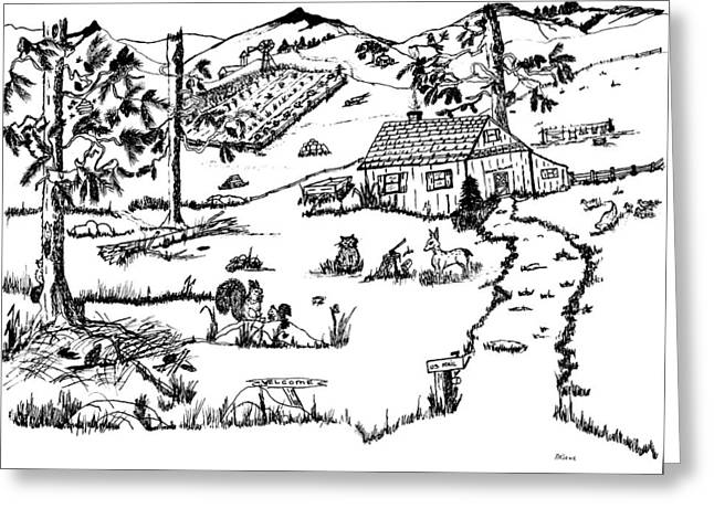 Country Cottage Drawings Greeting Cards - Arlennes IDYLLIC FARM Greeting Card by Daniel Hagerman