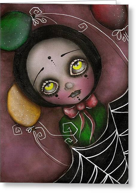 Eyes Paintings Greeting Cards - Arlequin Clown Girl Greeting Card by  Abril Andrade Griffith