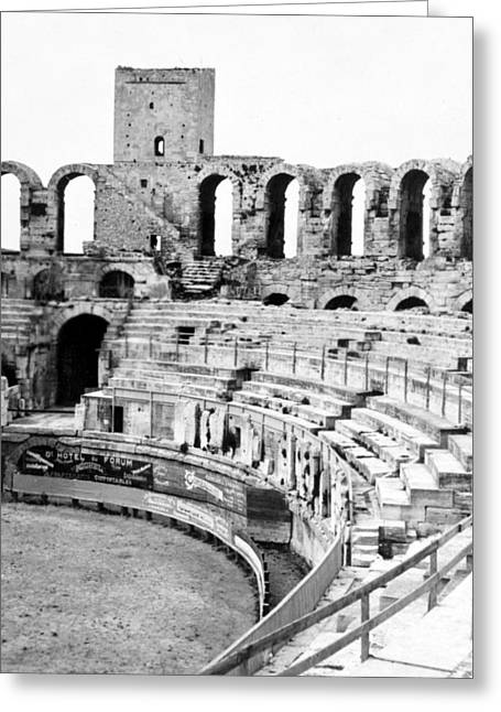 Interior Scene Photographs Greeting Cards - Arles Amphitheater a Roman arena in Arles - France - c 1929 Greeting Card by International  Images