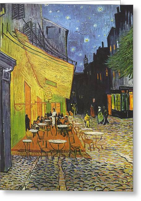 Arles Cafe Terrace At Night Greeting Card by Vincent van Gogh
