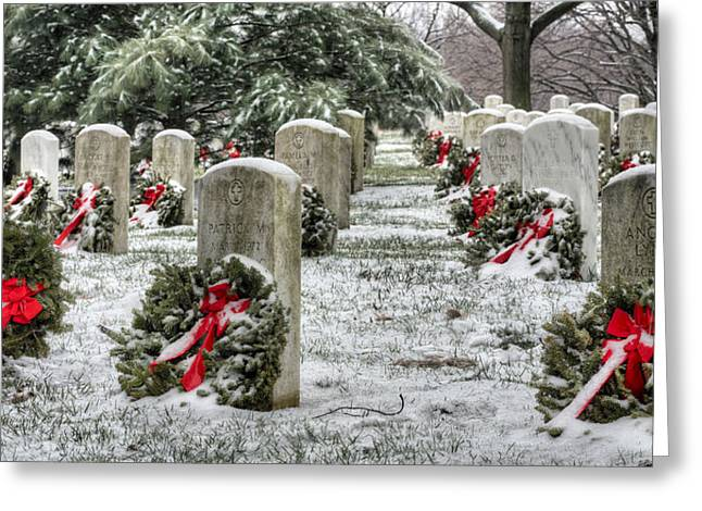 U.s. Marine Corps Greeting Cards - Arlington Christmas Greeting Card by JC Findley