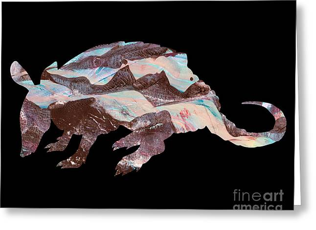 Printmaking Greeting Cards - Armadillo Greeting Card by Laura L Leatherwood