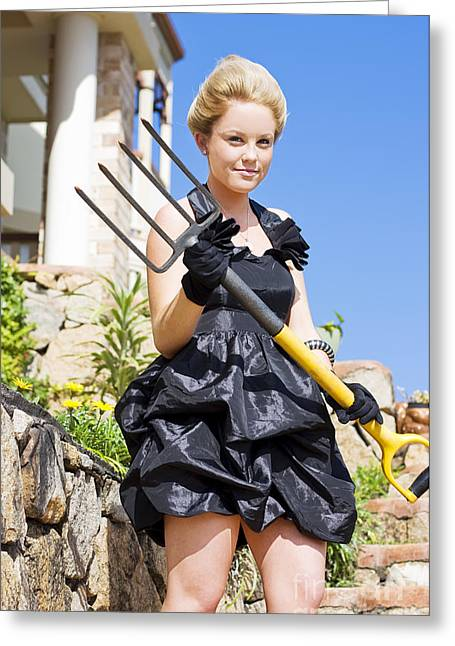 Armed And Dangerous Gardener Greeting Card by Jorgo Photography - Wall Art Gallery