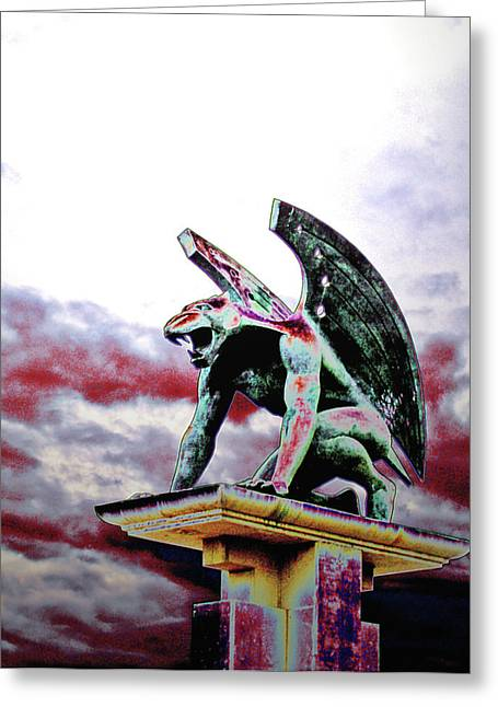 End Of War Greeting Cards - Armeggedon Gargoyle Greeting Card by Jim DeLillo