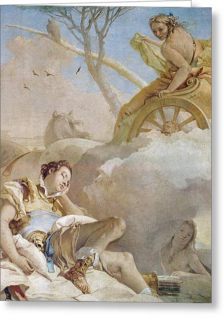 Saracen Greeting Cards - Armida Abducting the Sleeping Rinaldo Greeting Card by Giovanni Battista Tiepolo