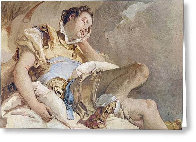 Saracen Greeting Cards - Armida Adbucting the Sleeping Rinaldo Greeting Card by Giovanni Battista Tiepolo