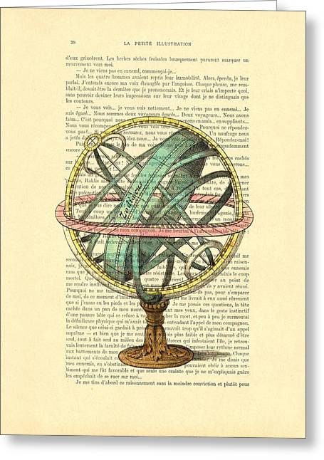 Armillary Sphere In Color Antique Illustration On Book Page Greeting Card by Madame Memento