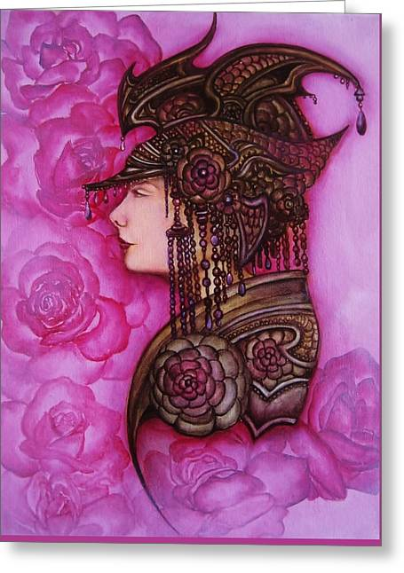 Warrior Goddess Greeting Cards - Armored Rose Greeting Card by Tamarah Phillips