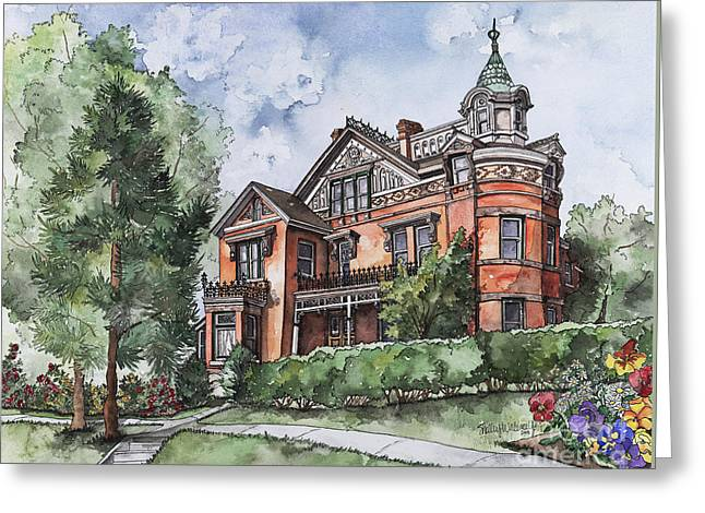 Cupola Paintings Greeting Cards - Armstrong Mansion Greeting Card by Shelley Wallace Ylst