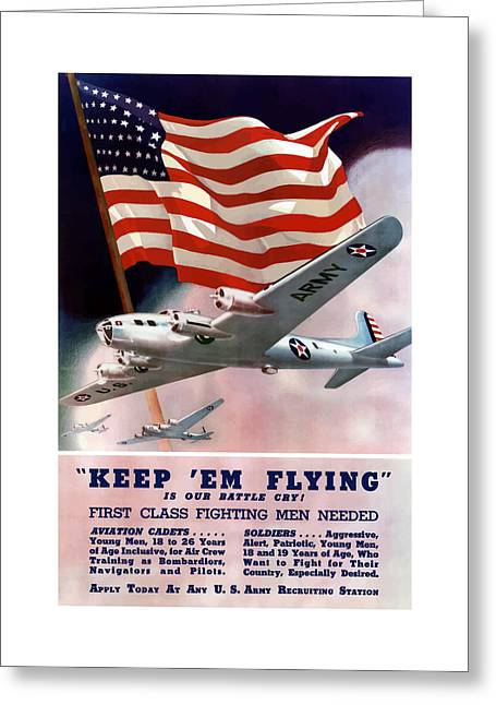Patriotic Art Greeting Cards - Army Air Corps Recruiting Poster Greeting Card by War Is Hell Store