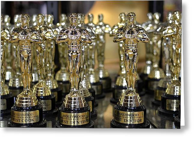 Academy Awards Oscars Greeting Cards - Army Of Gold Greeting Card by Fraida Gutovich