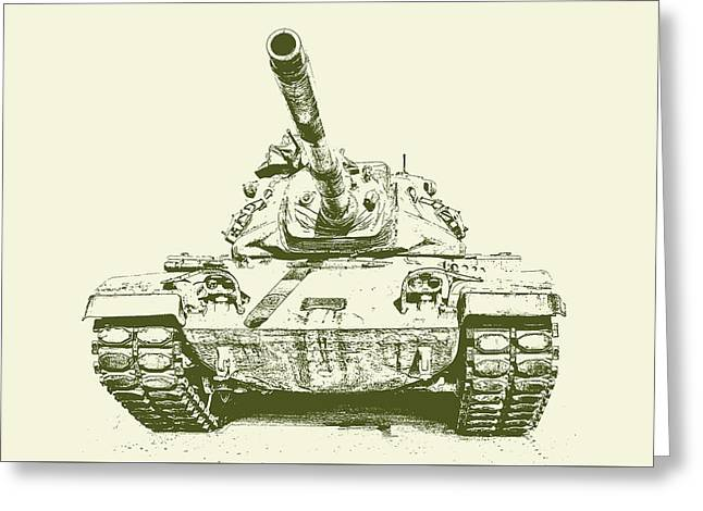 Army Tank Greeting Cards - Army Tank Vintage Greeting Card by Emily Enz