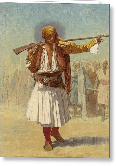 Gerome Drawings Greeting Cards - Arnaut Officer Greeting Card by Jean-Leon Gerome
