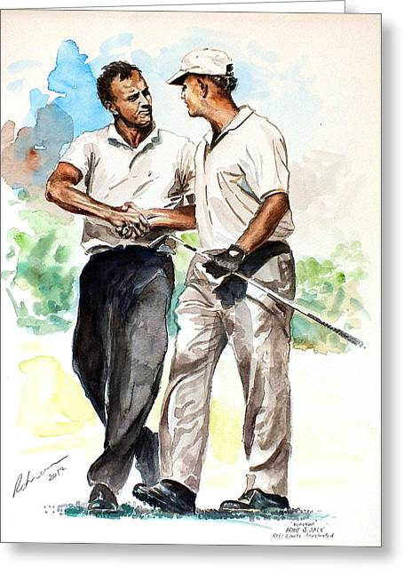 Arnold Palmer Greeting Cards - Arnold Palmer and Jack Nicklaus Watercolour sketch Greeting Card by Mark Robinson