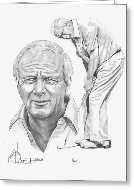 Sports Drawings Greeting Cards - Arnold Palmer Greeting Card by Murphy Elliott