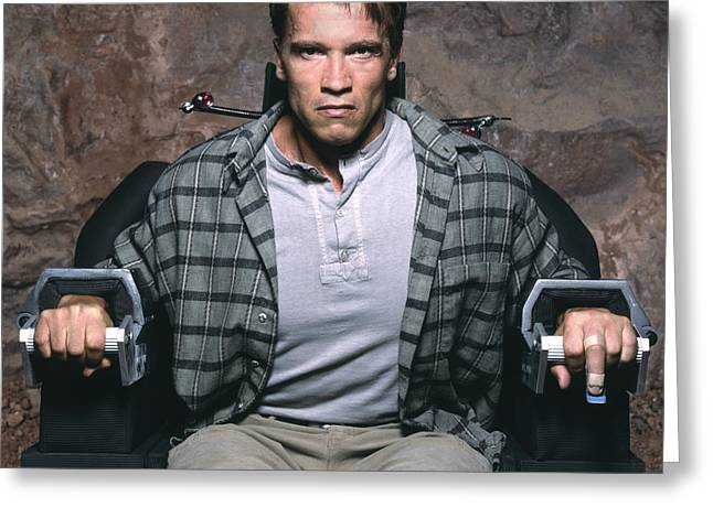 Arnold Schwarzenegger Greeting Card by Terry O'Neill