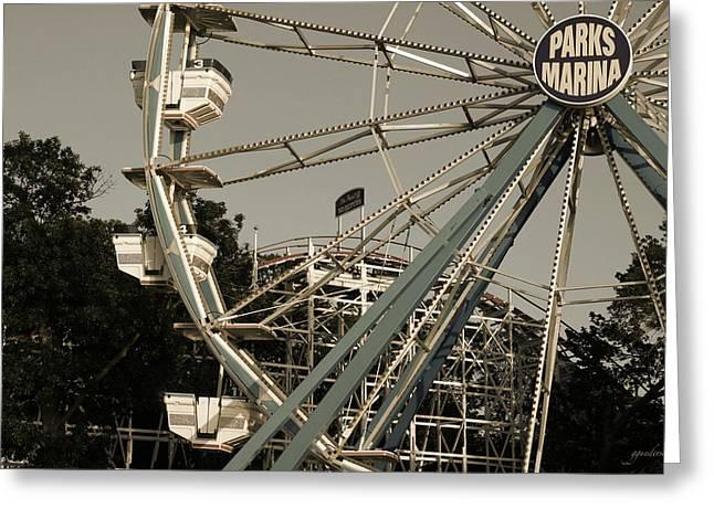 Okoboji Greeting Cards - Arnolds Park Ferris Wheel Greeting Card by Gary Gunderson