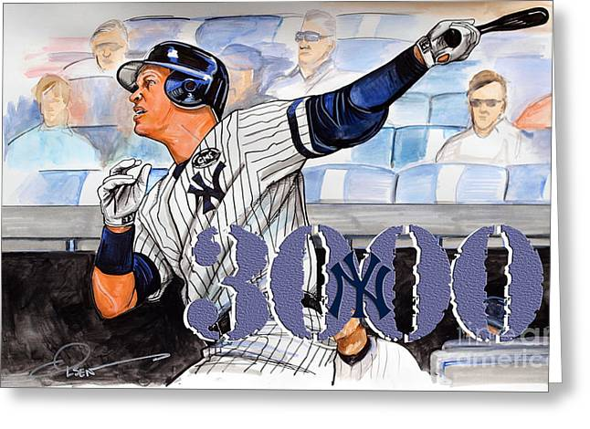 Arod Greeting Cards - Arod 3000 Greeting Card by Dave Olsen
