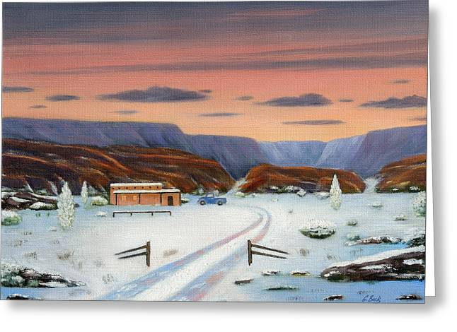Snowy Field Greeting Cards - Around Sundown Greeting Card by Gordon Beck