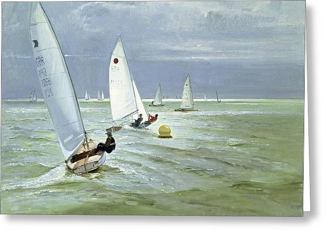 Ocean Sailing Greeting Cards - Around the Buoy Greeting Card by Timothy Easton