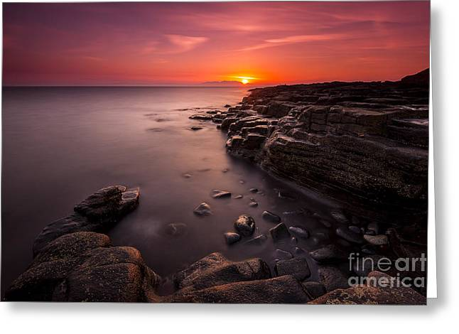 Gloaming Greeting Cards - Arran Sunset Greeting Card by Neil Barr