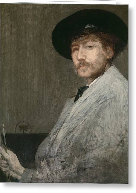 Artist At Work Greeting Cards - Arrangement in Grey  Portrait of the Painter Greeting Card by James Abbott McNeill Whistler