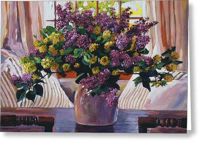 Arrangement In Lavender Greeting Card by David Lloyd Glover