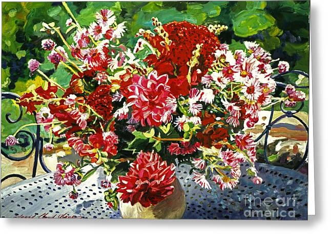 Flower Arrangements Greeting Cards - Arrangement in Red Greeting Card by David Lloyd Glover