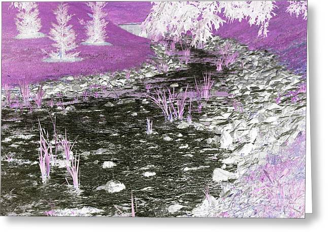 Rocks Drawings Greeting Cards - Array of Colors Stream Greeting Card by Ange